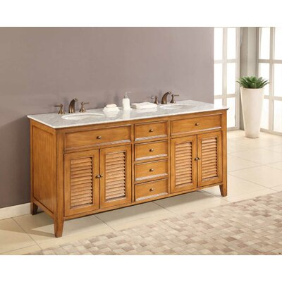 Mission Double Sink 70 Bathroom Vanity Set Top Finish: Carrera White Marble