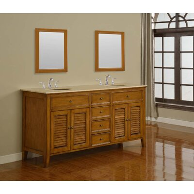 Mission Double Sink 70 Bathroom Vanity Set Top Finish: Beige Marble