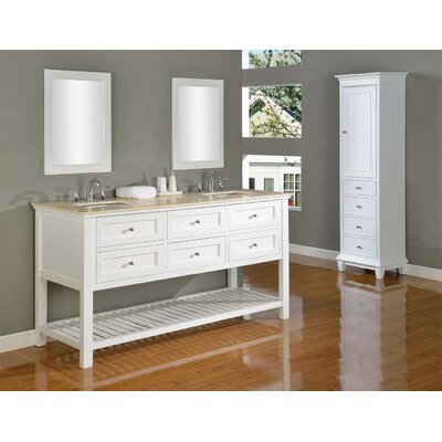Mission Spa 70 Double Bathroom Vanity Set Base Finish: White, Top Finish: Beige Marble