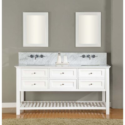 "Mission Spa Premium 70"" Double Vanity Set Top Finish: Carrara White Marble"