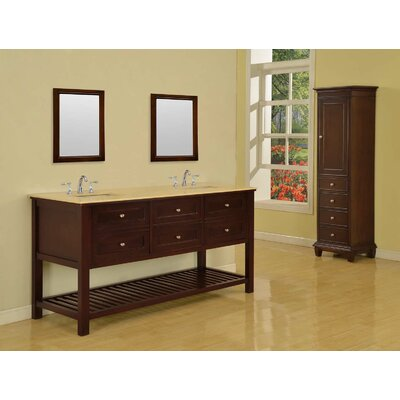 Mission Spa 70 Double Bathroom Vanity Set Base Finish: Espresso, Top Finish: Beige Marble