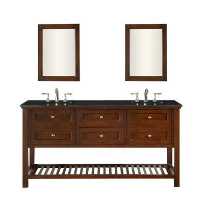 Mission Spa 70 Double Bathroom Vanity Set Base Finish: Espresso, Top Finish: Black Granite