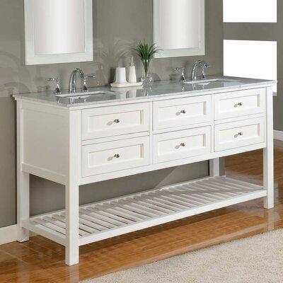 Mission Spa 70 Double Bathroom Vanity Set Base Finish: White, Top Finish: Carerra White Marble