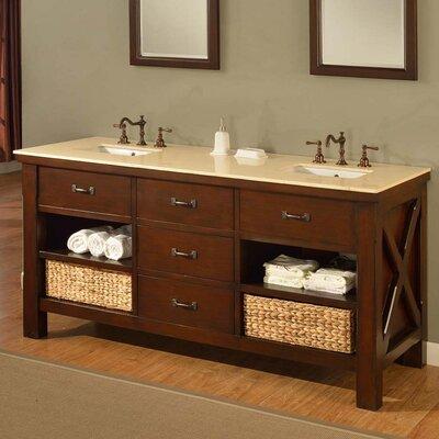 Xtraordinary Spa 70 Double Bathroom Vanity Set Top Finish: Beige Marble
