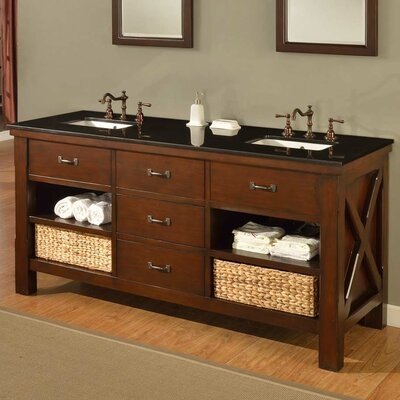 Xtraordinary Spa 70 Double Bathroom Vanity Set Top Finish: Black Granite