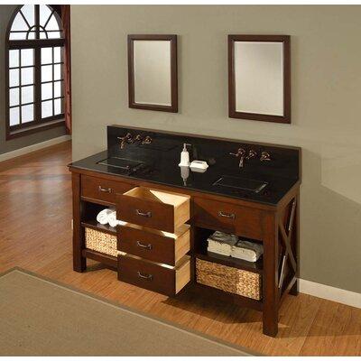 Xtraordinary Spa Premium 70 Double Bathroom Vanity Set Top Finish: Black Granite