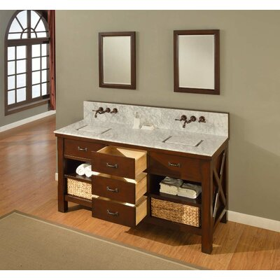 Xtraordinary Spa Premium 70 Double Bathroom Vanity Set Top Finish: Carrera White Marble