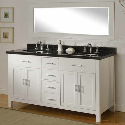 Hutton Spa 63 Double Bathroom Vanity Set with Mirror Top Finish: Black Granite