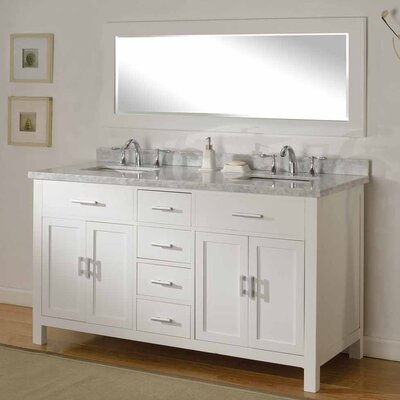 Hutton Spa 63 Double Bathroom Vanity Set with Mirror Top Finish: White Carrera Marble