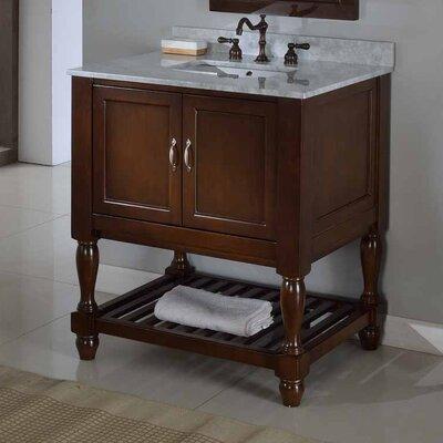 Mission Turnleg Spa 32 Single Bathroom Vanity Set Top Finish: White Carrera Marble