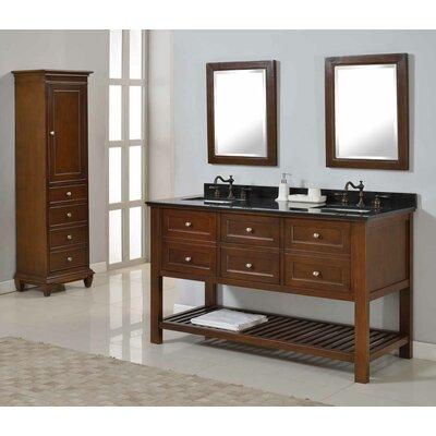 Mission Spa 60 Double Bathroom Vanity Set Top Finish: Black Granite