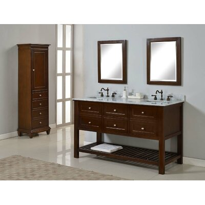 Mission Spa 60 Double Bathroom Vanity Set Top Finish: White Carrera Marble