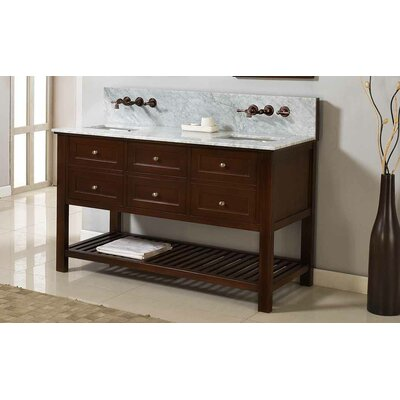 Mission Spa Premium 60 Double Bathroom Vanity Set Top Finish: White Carrera Marble