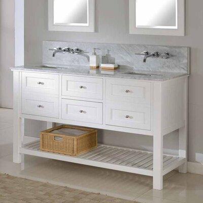 Mission Spa Premium 60 Double Bathroom Vanity Set Top Finish: White Carrera Marble