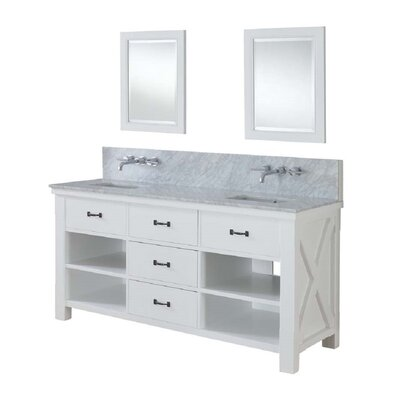 Xtraordinary Spa Premium 70 Double Bathroom Vanity Set Top Finish: White Carrera Marble