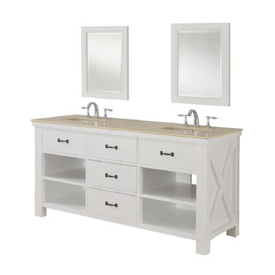 Xtraordinary Spa 70 Double Bathroom Vanity Set Top Finish: Beige Marble