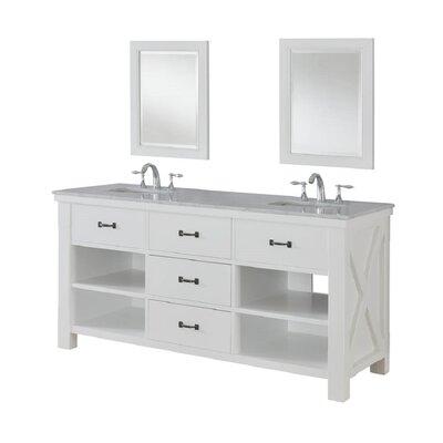 Xtraordinary Spa 70 Double Bathroom Vanity Set Top Finish: White Carrera Marble