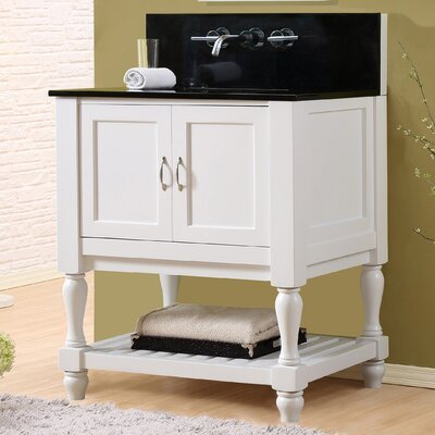 Mission Turnleg Spa Premium 32 Single Bathroom Vanity Set Top Finish: Black Granite