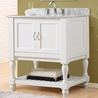 Mission Turnleg Spa 32 Single Bathroom Vanity Set Top Finish: White Carrera Marble