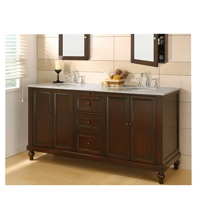 Classic 70 Double Bathroom Vanity Set Top Finish: Carrera White Marble
