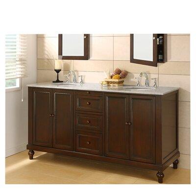 Classic 70 Double Bathroom Vanity Set Top Finish: Carrera White Marble