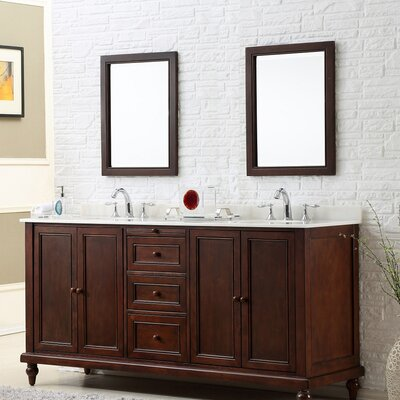 Classic 70 Double Bathroom Vanity Set Top Finish: White Marble