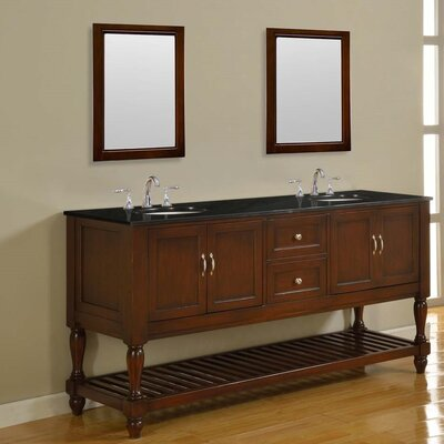 "Mission Turnleg 70"" Double Vanity Set Base Finish: Pearl White, Top Finish: Beige Marble"
