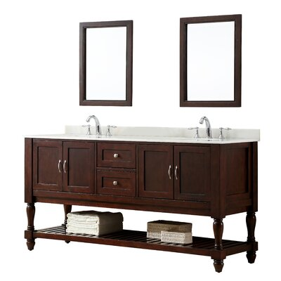 Mission Turnleg 70 Double Vanity Set Base Finish: Espresso, Top Finish: White Marble