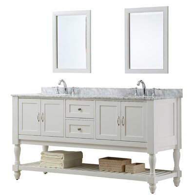 "Mission Turnleg 70"" Double Vanity Set Base Finish: Pearl White, Top Finish: Carrera White Marble"