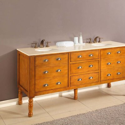 Harvest 70 Double Bathroom Vanity Set Base Finish: Honey, Top Finish: Beige Marble