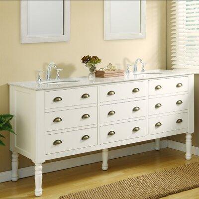 Harvest 70 Double Bathroom Vanity Set Base Finish: Pearl White, Top Finish: Carerra White Marble