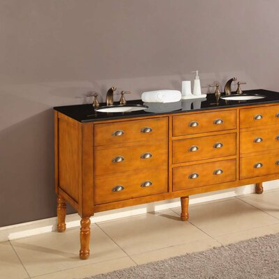 Harvest 70 Double Bathroom Vanity Set Base Finish: Honey, Top Finish: Black Granite