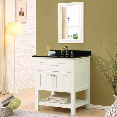Ferdinand 32 Single Bathroom Vanity Set with Mirror Top Finish: Black Granite