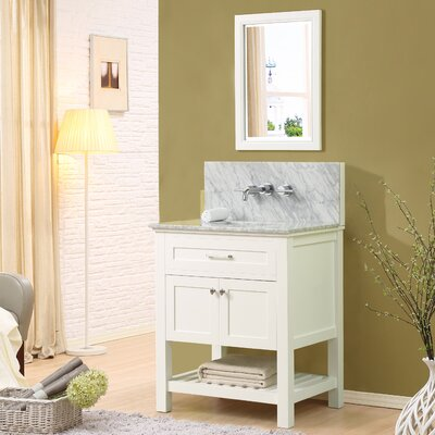 Fairfield 32 Single Bathroom Vanity Set with Mirror Top Finish: White Carrara Marble