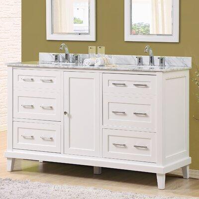 Fairlee 60 Double Bathroom Vanity Set Top Finish: White Carrara Marble