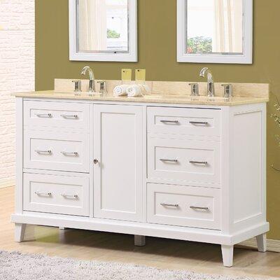 Fairlee 60 Double Bathroom Vanity Set Top Finish: Beige Marble Top