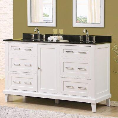 Fairlee 60 Double Bathroom Vanity Set Top Finish: Black Granite