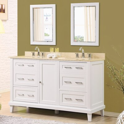 Fairlee 60 Double Bathroom Vanity Set with Mirrors Top Finish: Beige Marble Top