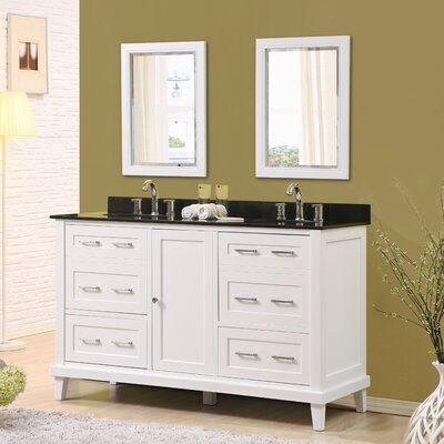 Fairlee 60 Double Bathroom Vanity Set with Mirrors Top Finish: Black Granite