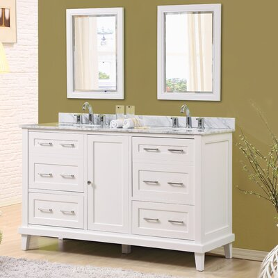 Fairlee 60 Double Bathroom Vanity Set with Mirrors Top Finish: White Carrara Marble