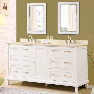 Fairlee 70 Double Bathroom Vanity Set with Mirrors Top Finish: Beige Marble Top