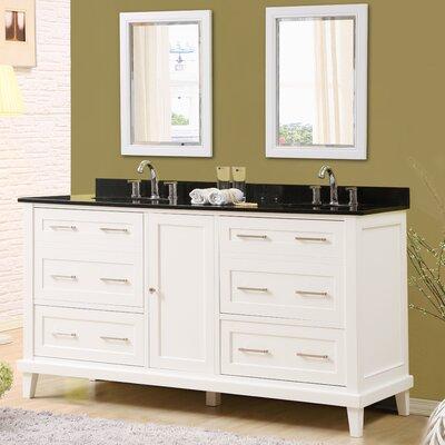 Fairlee 70 Double Bathroom Vanity Set with Mirrors Top Finish: Black Granite