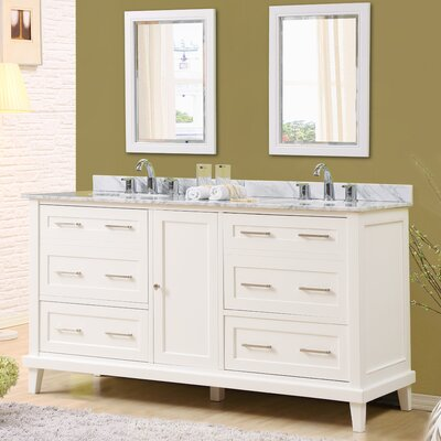 Fairlee 70 Double Bathroom Vanity Set with Mirrors Top Finish: White Carrara Marble