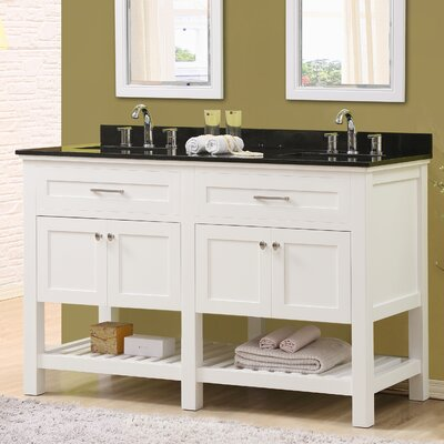 Ferdinand 60 Double Bathroom Vanity Set Top Finish: Black Granite