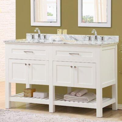 Ferdinand 60 Double Bathroom Vanity Set Top Finish: White Carrara Marble