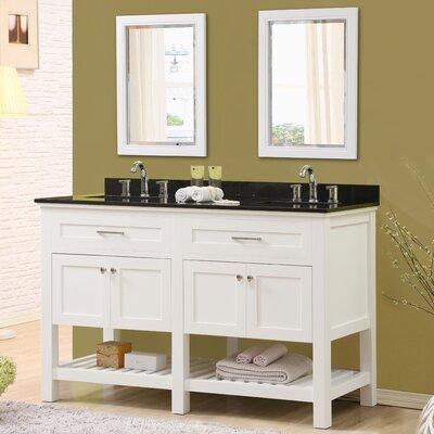 Ferdinand 60 Double Bathroom Vanity Set with Mirrors Top Finish: Black Granite