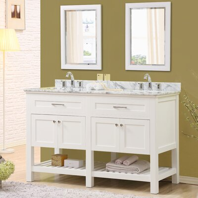 Ferdinand 60 Double Bathroom Vanity Set with Mirrors Top Finish: White Carrara Marble