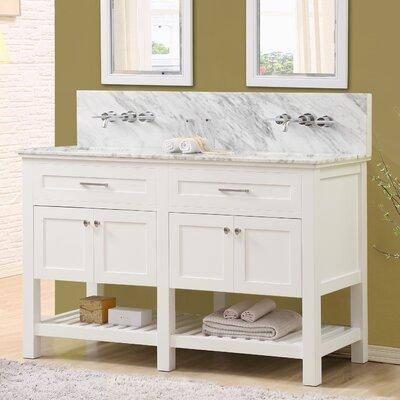 Fairfield 60 Double Bathroom Vanity Set Top Finish: White Carrara Marble