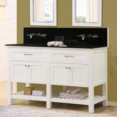 Fairfield 60 Double Bathroom Vanity Set Top Finish: Black Granite