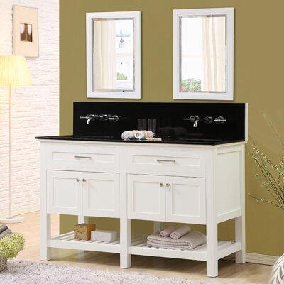 Fairfield 60 Double Bathroom Vanity Set with Mirrors Top Finish: Black Granite